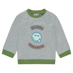 ©Smiley trui van grijs gemêleerde molton