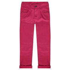 Slim-fit broek van twill met crinkle effect