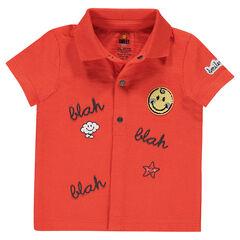 Polo manches courtes en jersey avec prints et badge bouclette ©Smiley