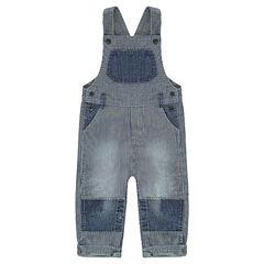 Tuinbroek van jeans met streepjes en effen inzetstukken