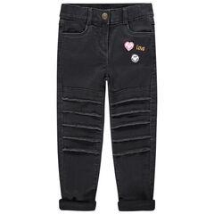 Slim-fit jeans gevoerd met jerseystof, met ©Smiley geborduurd op de achterzijde