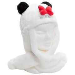 Bonnet écharpe en sherpa Minnie Disney avec oreilles en relief
