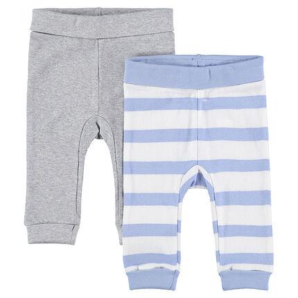 Lot de 2 pantalons en jersey gris chiné / rayé