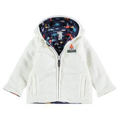 Vest van sherpa met kap met voering van molton