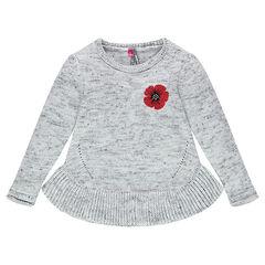 Pull en tricot chiné avec coquelicot brodé