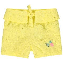 Short jaune en broderie anglaise à détails brodés