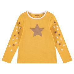 T-shirt met lange mouwen van jerseystof met ster van magische lovertjes
