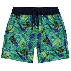 Junior - Short de bain avec imprimé esprit tropical all-over