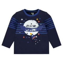 T-shirt met lange mouwen met raket- en sterrenprint