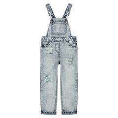 Junior - Tuinbroek uit jeans met used effect.