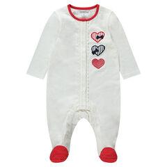 Pyjama van jerseystof met hartjes en rode toetsen