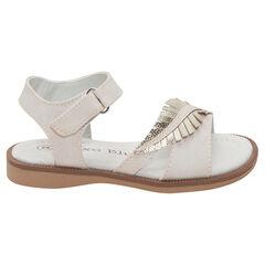 Sandalen met ledereffect en inzetstuk in de vorm van een gouden blaadje