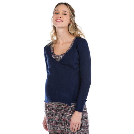 Zwangerschapsvest van tricot met gekruiste opening
