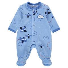"""Pyjama van velours met geborduurde vliegtuigen en print """"all-over"""""""