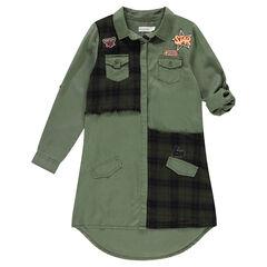 Junior - Hemdjurk met geruite inzetstukken en badges