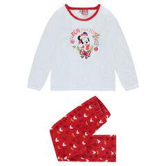 Pyjama de Noël en velours avec print Minnie et broderies dorées