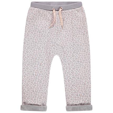 Pantalon de jogging en molleton imprimé léopard