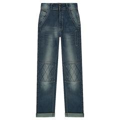 Junior - Jeans slim effet used avec croisillons genoux