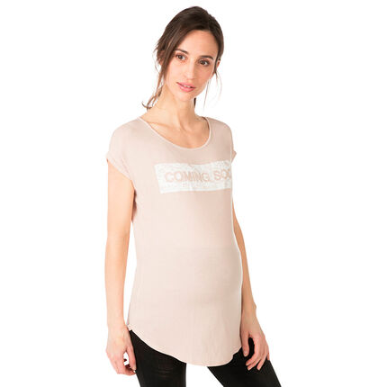 Zwangerschaps-T-shirt met korte mouwen en crinkle-opschrift