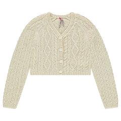 Gilet en tricot à jeu de mailles avec fil brillant