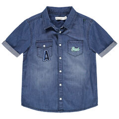 Chemise manches courtes en jean used à poches et broderies