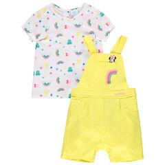 Ensemble avec salopette courte jaune et T-shirt imprimés Minnie Disney