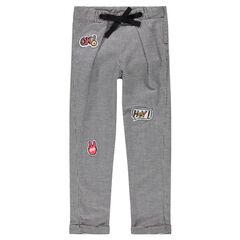 Pantalon en pied de poule avec badges patchés et liens à nouer