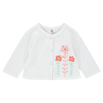 Geboortevestje uit tricot met geborduurde bloemen