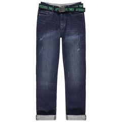 Jeans met used en crinkle effect en met afneembare riem met print
