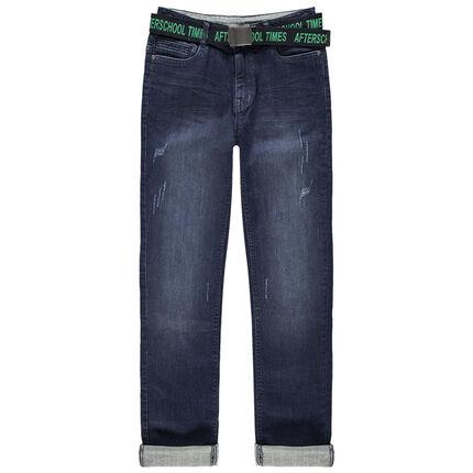 Jean effet used et crinkle avec ceinture imprimée amovible