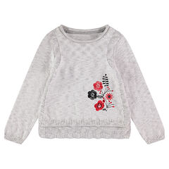 Pull en tricot avec fleurs brodées