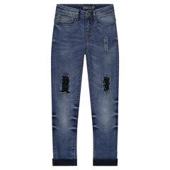 Jeans met used en crinkle effect met patches met used effect