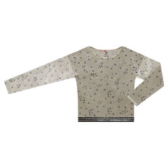 Junior - Sweat en panne de velours motif étoiles