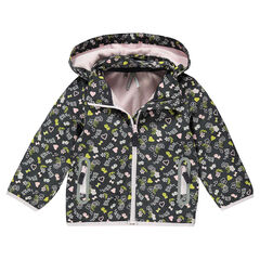 Windjack fantasieprint met kap met warme voering in microfleece