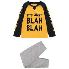 Pyjama van jerseystof in twee kleuren met print met boodschap