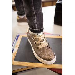 Lage sneakers met pailletten, gesatineerde veters en plateauzool