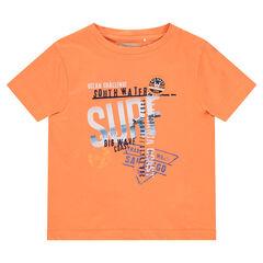 T-shirt met korte mouwen en fantasieprint in vakantiestijl uit jerseystof