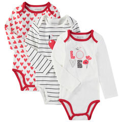 Set met 3 body's met lange mouwen met fantasieprints en rode toetsen