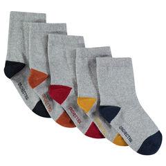 Lot de 5 paires de chaussettes assorties grises avec bout et talon contrastés