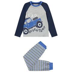 Pyjama en coton bio print 4x4 et rayures