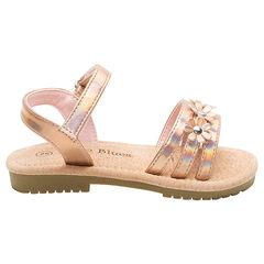 Nu-pieds avec brides irisées et fleurs du 24 au 27