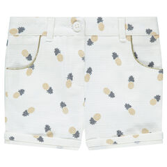 Short en natté de coton avec ananas printés all-over