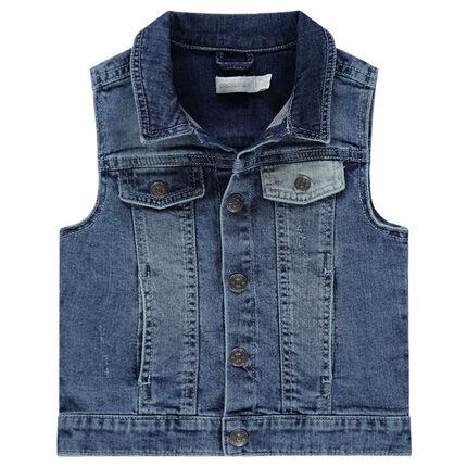Jeansvest zonder mouwen met used effect en zakken