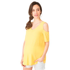 Zwangerschaps t-shirt met korte mouwen en met ontblote schouders