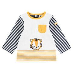T-shirt met lange mouwen van jerseystof met strepen print met tijger