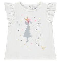 Tee-shirt manches courtes volantées avec princesse printée
