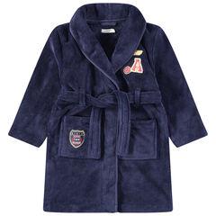 Kamerjas van sherpastof met zakken en opgestikte badges