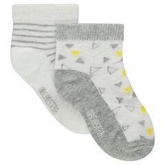 Lot de 2 paires de chaussettes assorties avec motif all-over et rayures