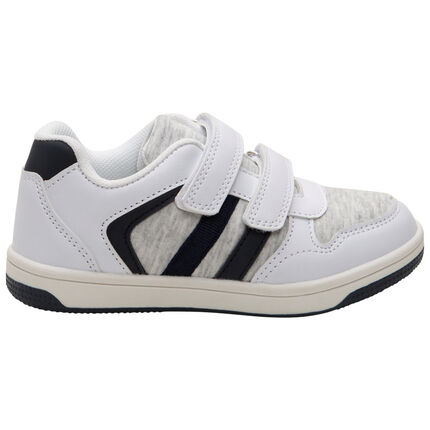Lage sneakers met twee materialen, klittenband en contrasterende banden