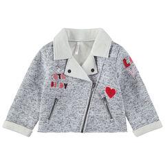Gemêleerde vest met gekartelde rand met opgestikte opschriften en zakken met ritssluiting